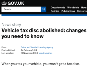 Tax disc abolishment has cost the government millions of pounds