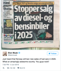 Norway to ban fossil fuel vehicles by 2025