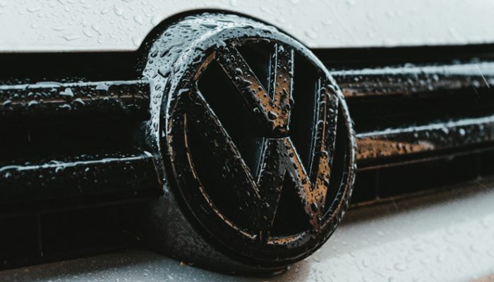 Volkswagen Badge on Car