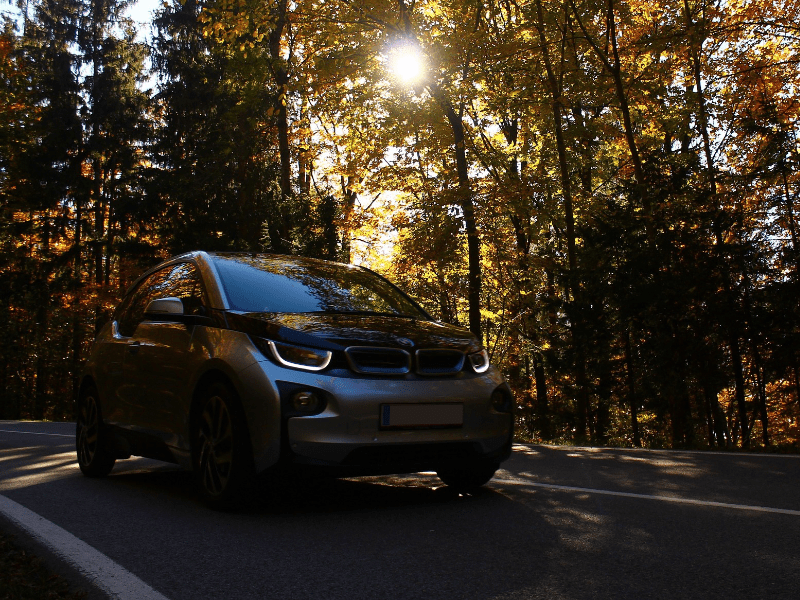 BMW i3 on Autumnal Road